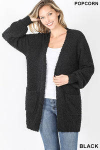 PLUS PUFF SLEEVE POPCORN CARDIGAN WITH POCKETS