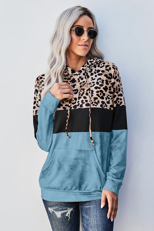 Party Everyday Leopard Hoodie Blue