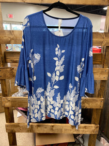 Blue Top With White Flowers Plus