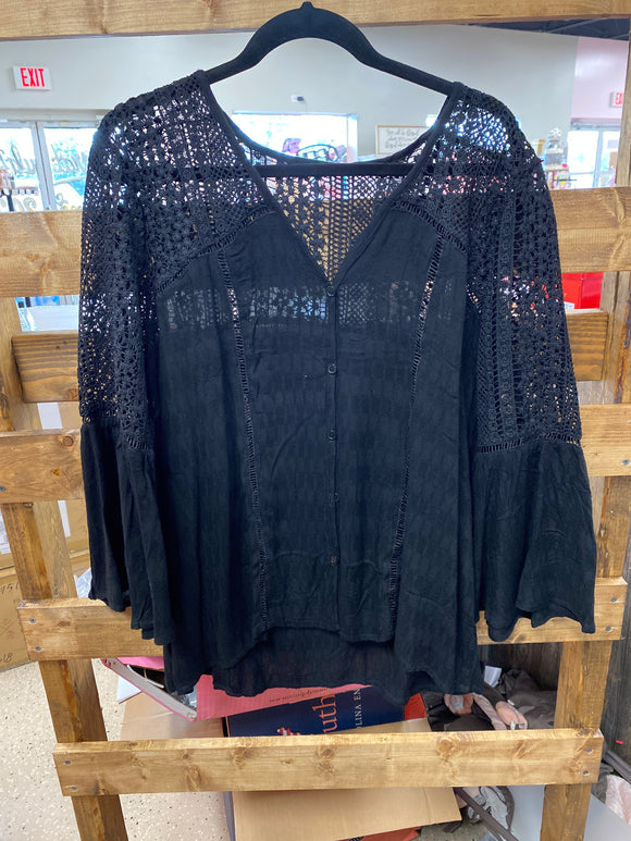Black Lace Bell Sleeve Shirt