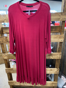 Maroon Ruffled Dress