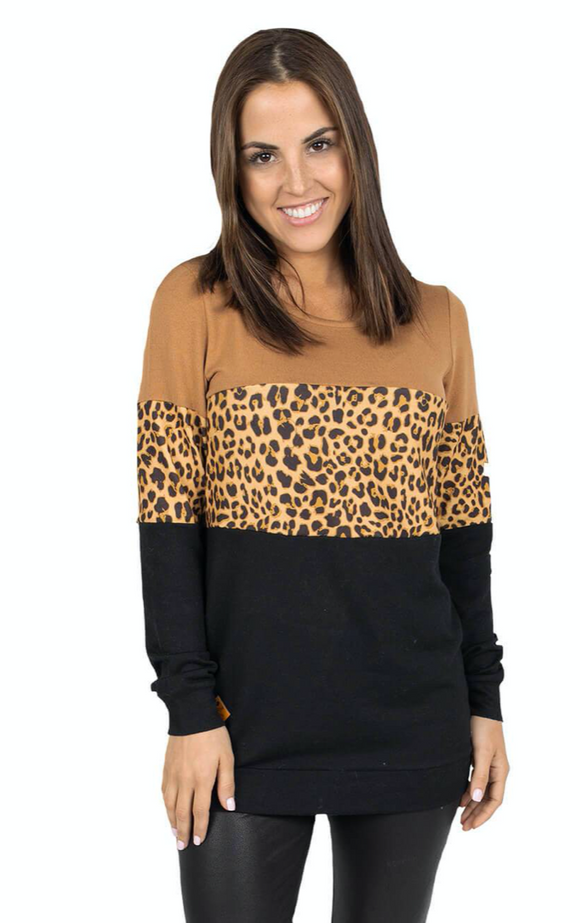 Simply Southern Leopard Stripe Top