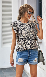 Leopard Ruffled Cap Sleeve T-shirt