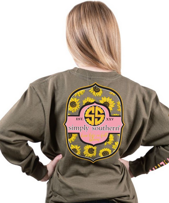 Simply Southern Live Life In Full Bloom Youth Long Sleeve