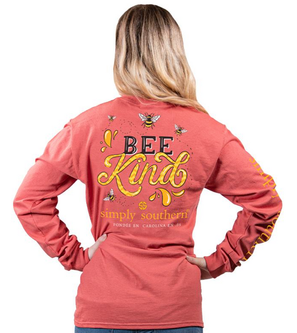 Simply Southern Bee Kind Burgundy Youth Long Sleeve