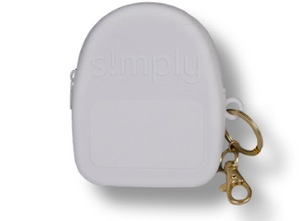SS Silicone Backpack Keychain: White