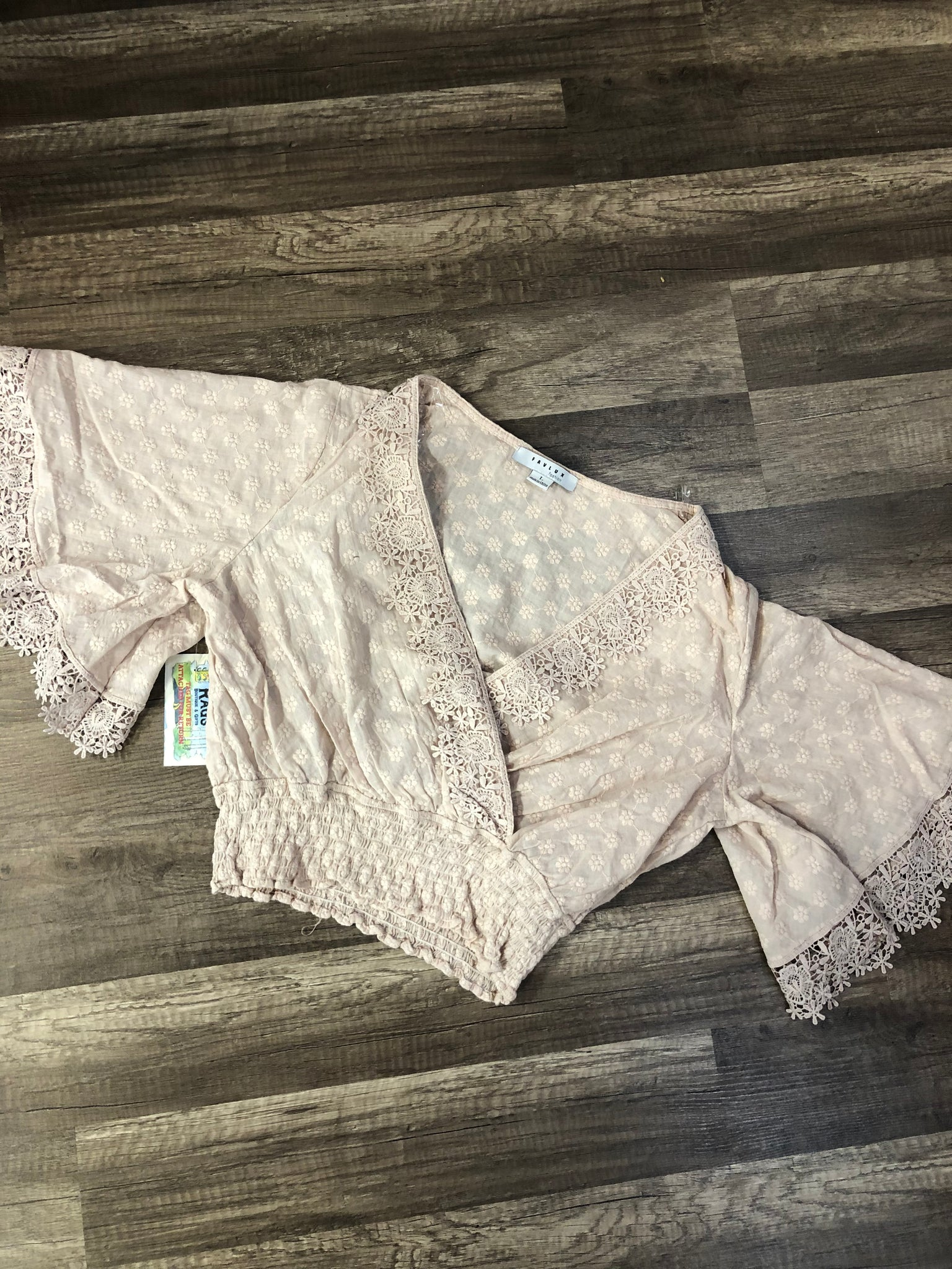 Lace Smocked Waist Crop Top