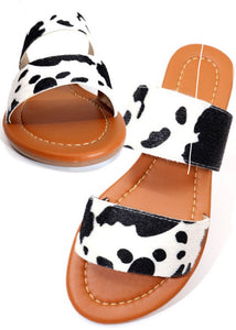 Mooove out the way cow print sandals