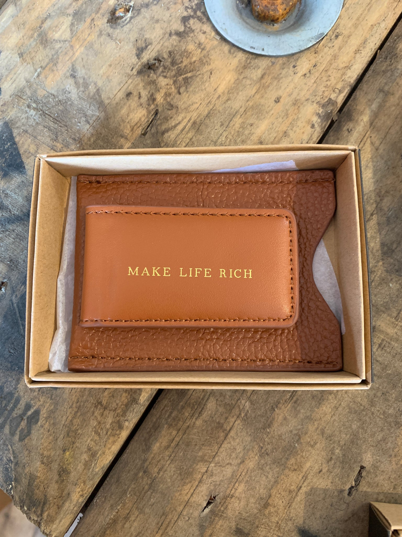 Leather money wallet clip