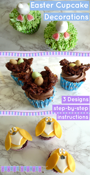 Easter cupcake designs - bunny tails, chocolate nests and Easter chick