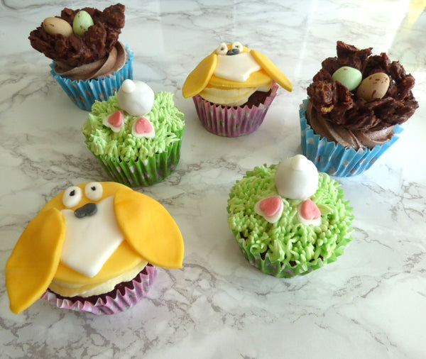 Easter cupcake decorations - chick, bunny tail, chocolate test