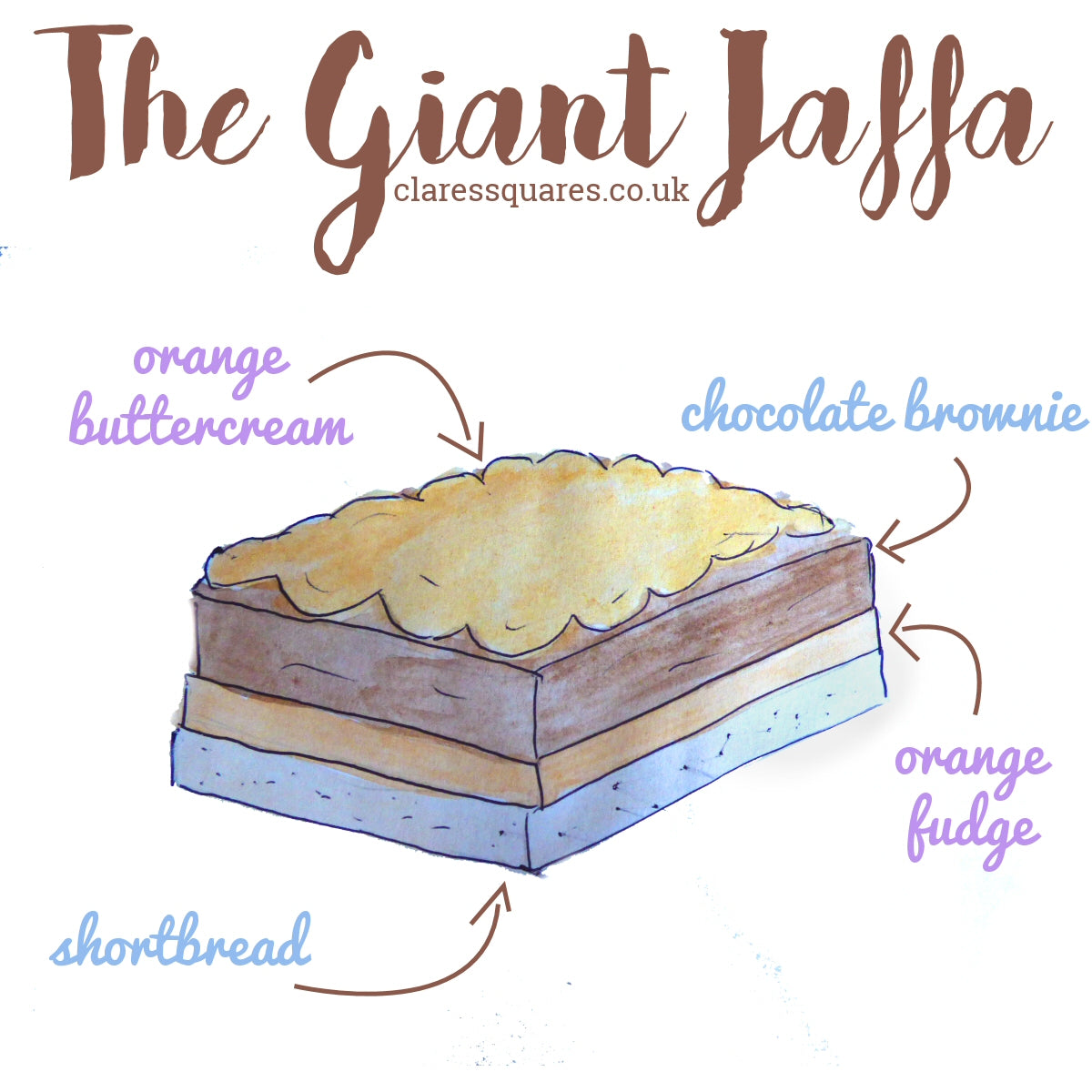 Giant Jaffa Traybake Cake - Clare's Squares - order  online with free delivery to your door