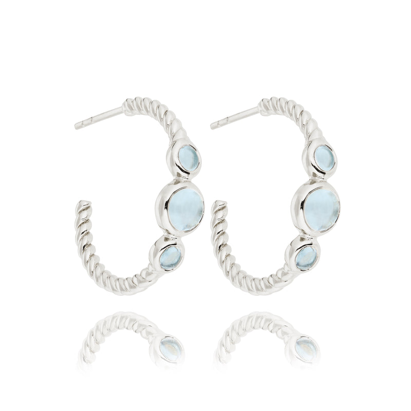 CLEMENT HOOPS WITH BLUE TOPAZ