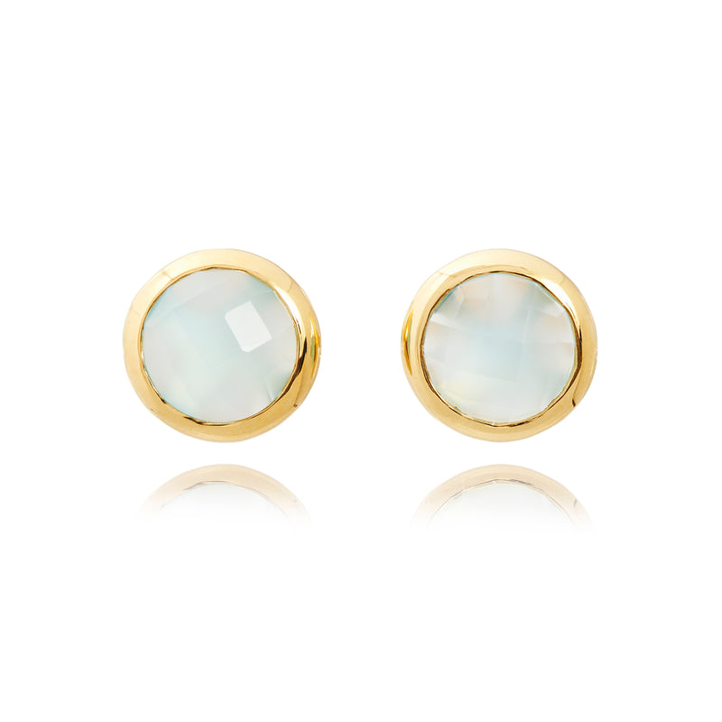 MACARON STUD EARRINGS IN DUCK EGG