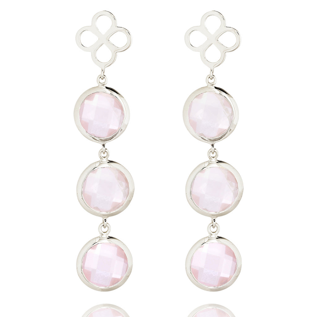 BENISON COCKTAIL EARRINGS WITH ROSE QUARTZ