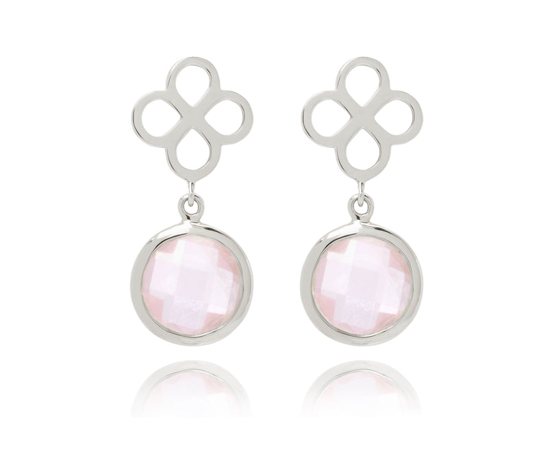 BENISON DROP EARRINGS WITH ROSE QUARTZ