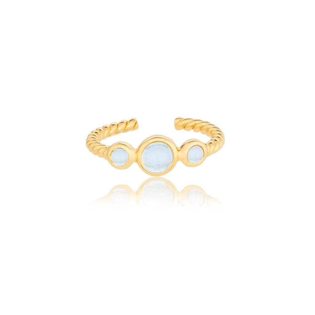 CLEMENT TRINITY RING WITH BLUE TOPAZ