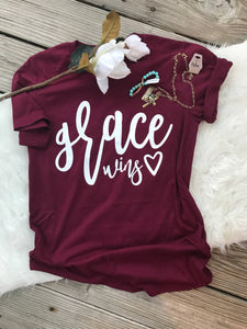 Grace wins shirt - by his grace - amazing grace - christian shirt - inspirational - have grace