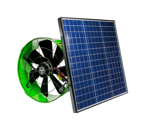 The 40 W Solar-hybrid gable fan has a built in AC/DC inverter that lets it sip from the home energy supply to keep removing heat after the sun has gone down.
