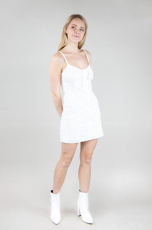 White dress-front tie eyelet cami