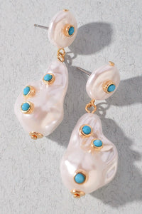 Abstract Mother of Pearl Dangling Earrings