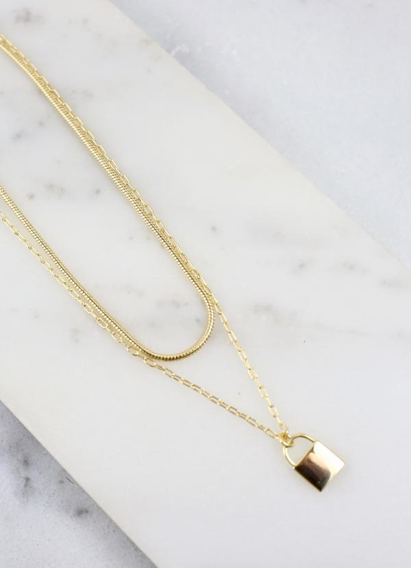 Sassi Layered Chain Necklace With Lock Charm