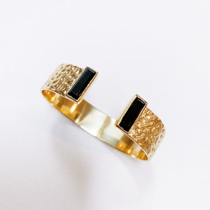 Joya Collins Gold Cuff Black Onyx
