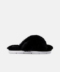 DOLCE VITA PILLAR SLIPPERS IN BLACK FAUX FUR
