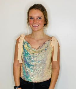 Orora Sequin Ribbon Tied Top