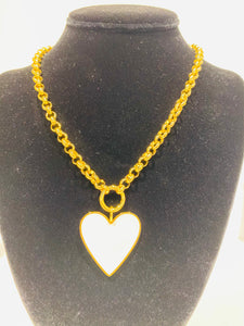 Ashley Hunt White Heart Necklace