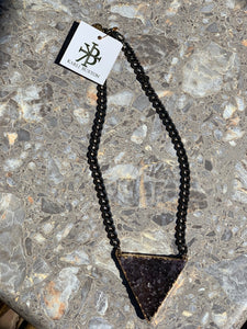 Karli Buxton- Gunmetal & Purple Druzy Necklace