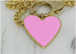 Ashley Hunt Pink Heart All Gold Necklace