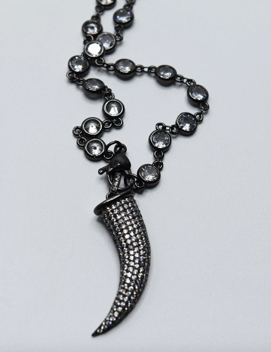 Black Bling Horn Necklace