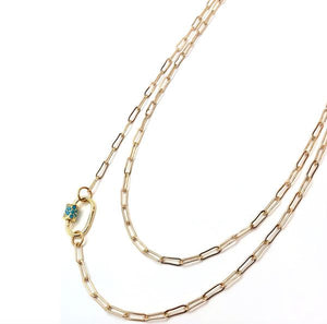 Pave Clasp Gold Chain Necklace