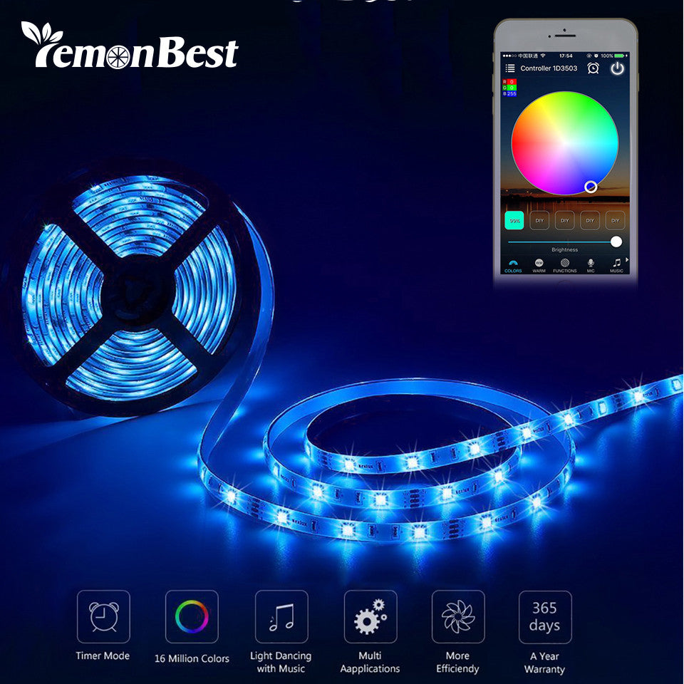 5m RGB LED WiFi Strip Light Kit Waterproof Remote Control for Android and iOS