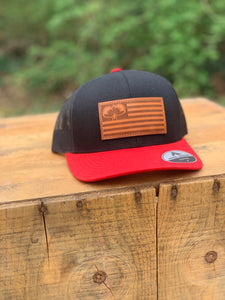 Leather Flag Patch Red/Black