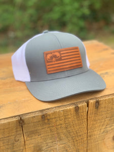 Leather Flag Patch Grey/White