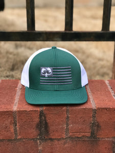 S/Roots Flag Trucker Hat-Green/White