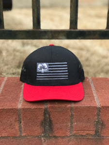 S/Roots Flag Trucker Hat-Black/Black/Red