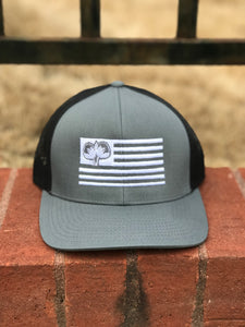 S/Roots Flag Trucker Hat-Grey/Black/White