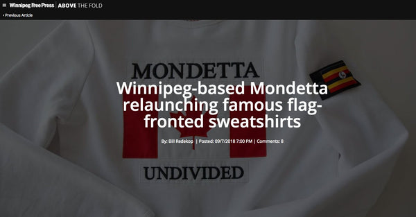 Winnipeg Free Press: Mondetta Relaunching Famous Flag-fronted Sweatshirts