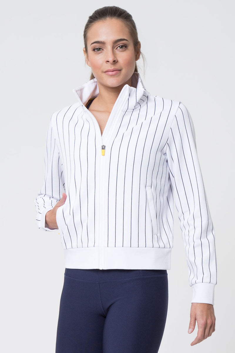 MPG Sport's clearance warehouse women's Game Plan Striped Warm Up Jacket in White Pinstripe Pattern
