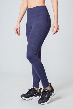 Brushed Jacquard Legging - Indigo