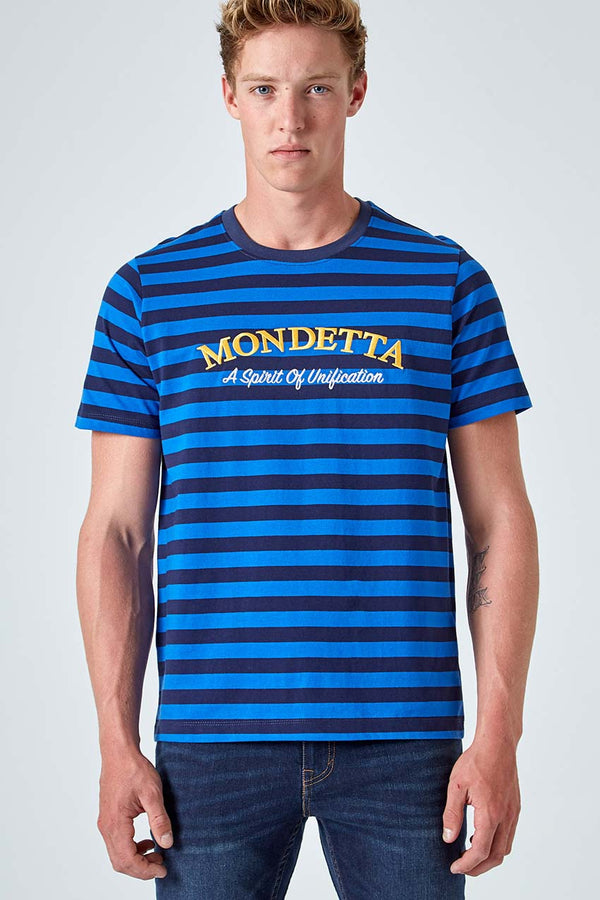 Mondetta Originals retro unisex streetwear 'Chase Striped Logo Tee' Chase Striped Logo Tee, in Olympian Blue Stripe