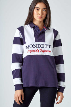 Mondetta Originals retro unisex streetwear 'Flagstaff Color Blocked Rugby Shirt' Flagstaff Color Blocked Rugby Shirt, in NavySky/White