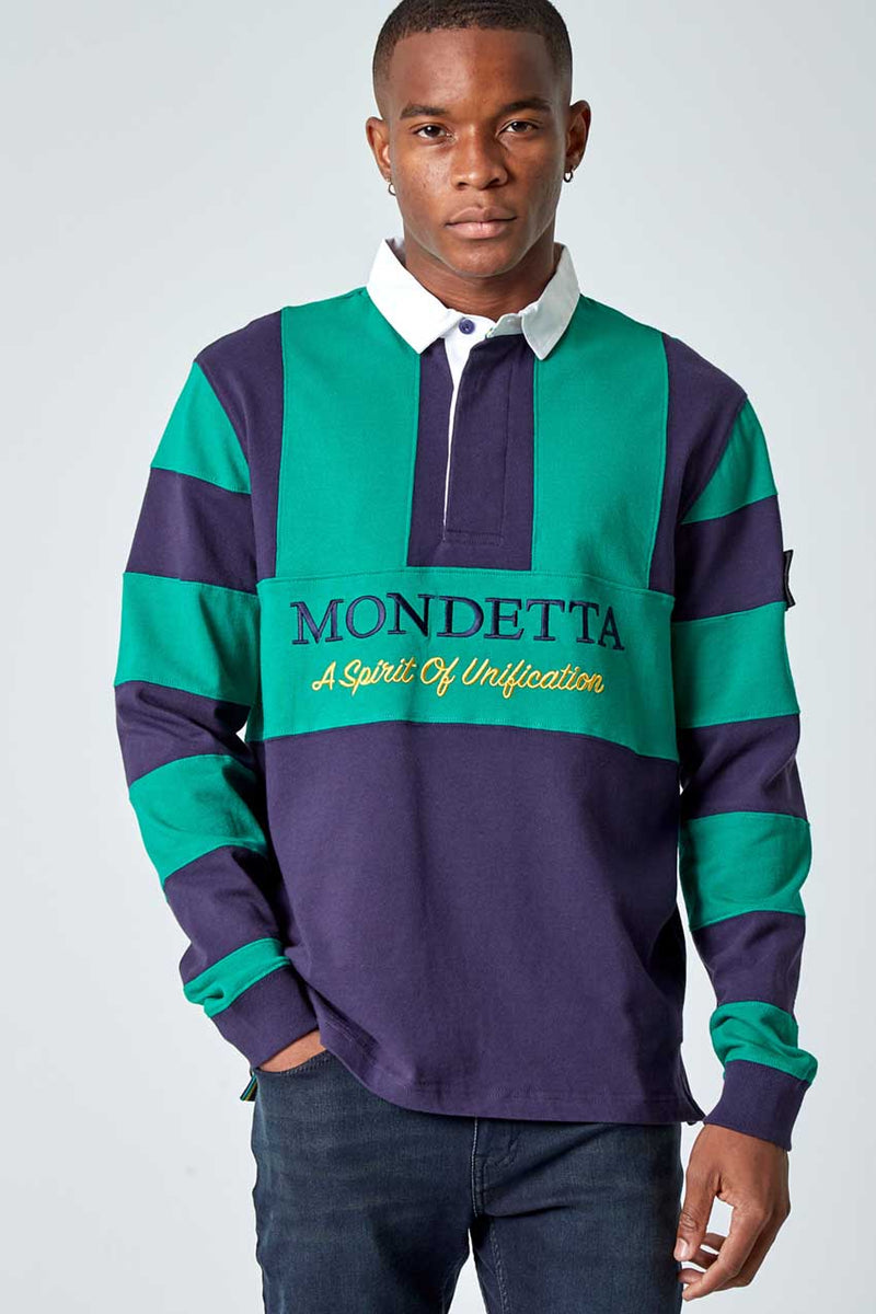 Mondetta Originals retro unisex streetwear 'Flagstaff Color Blocked Rugby Shirt' Flagstaff Color Blocked Rugby Shirt, in NavySky/Shamrock