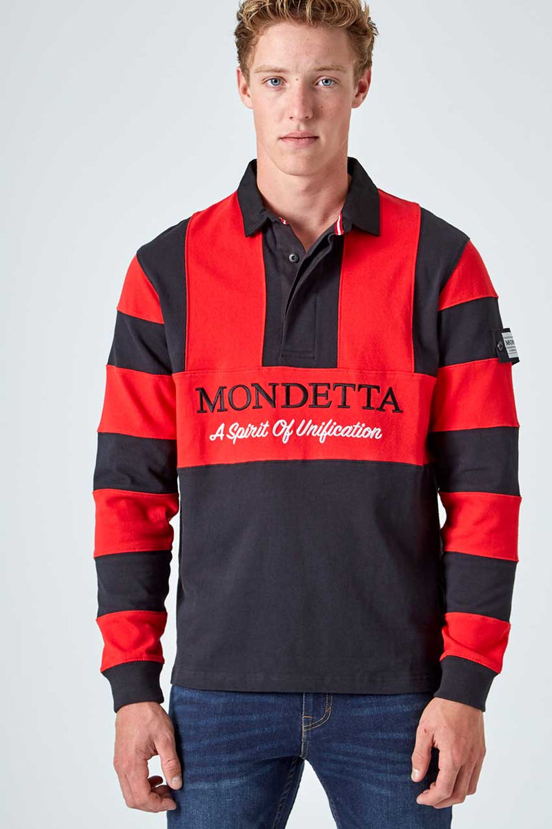 Mondetta Originals retro unisex streetwear 'Flagstaff Color Blocked Rugby Shirt' Flagstaff Color Blocked Rugby Shirt, in Black/MapleRed