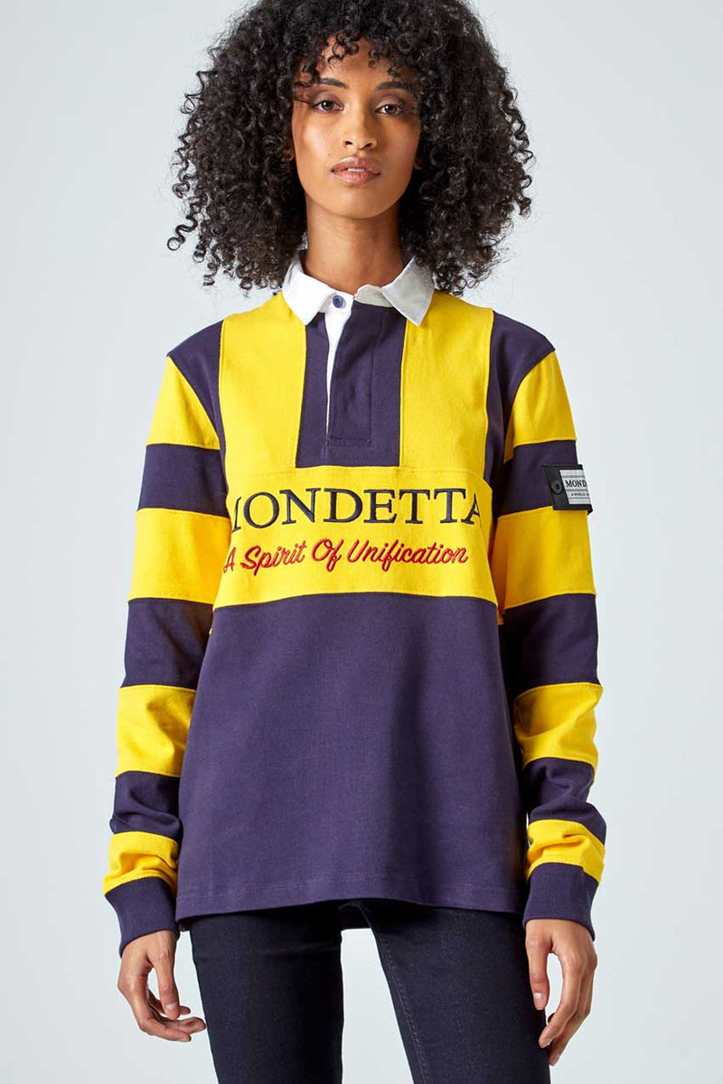 Mondetta Originals retro unisex streetwear 'Flagstaff Color Blocked Rugby Shirt' Flagstaff Color Blocked Rugby Shirt, in NavySky/Gold