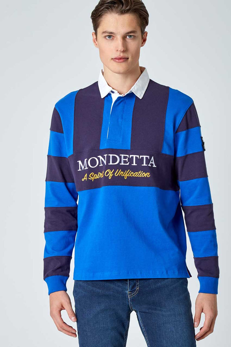 Mondetta Originals retro unisex streetwear 'Flagstaff Color Blocked Rugby Shirt' Flagstaff Color Blocked Rugby Shirt, in OlympianBlue/NavySky