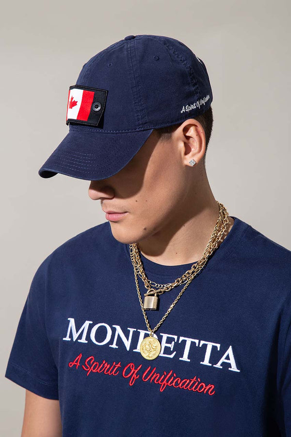 Mondetta Originals retro unisex streetwear 'Heads Up Baseball Hat' Heads Up Baseball Hat, in Navy Sky